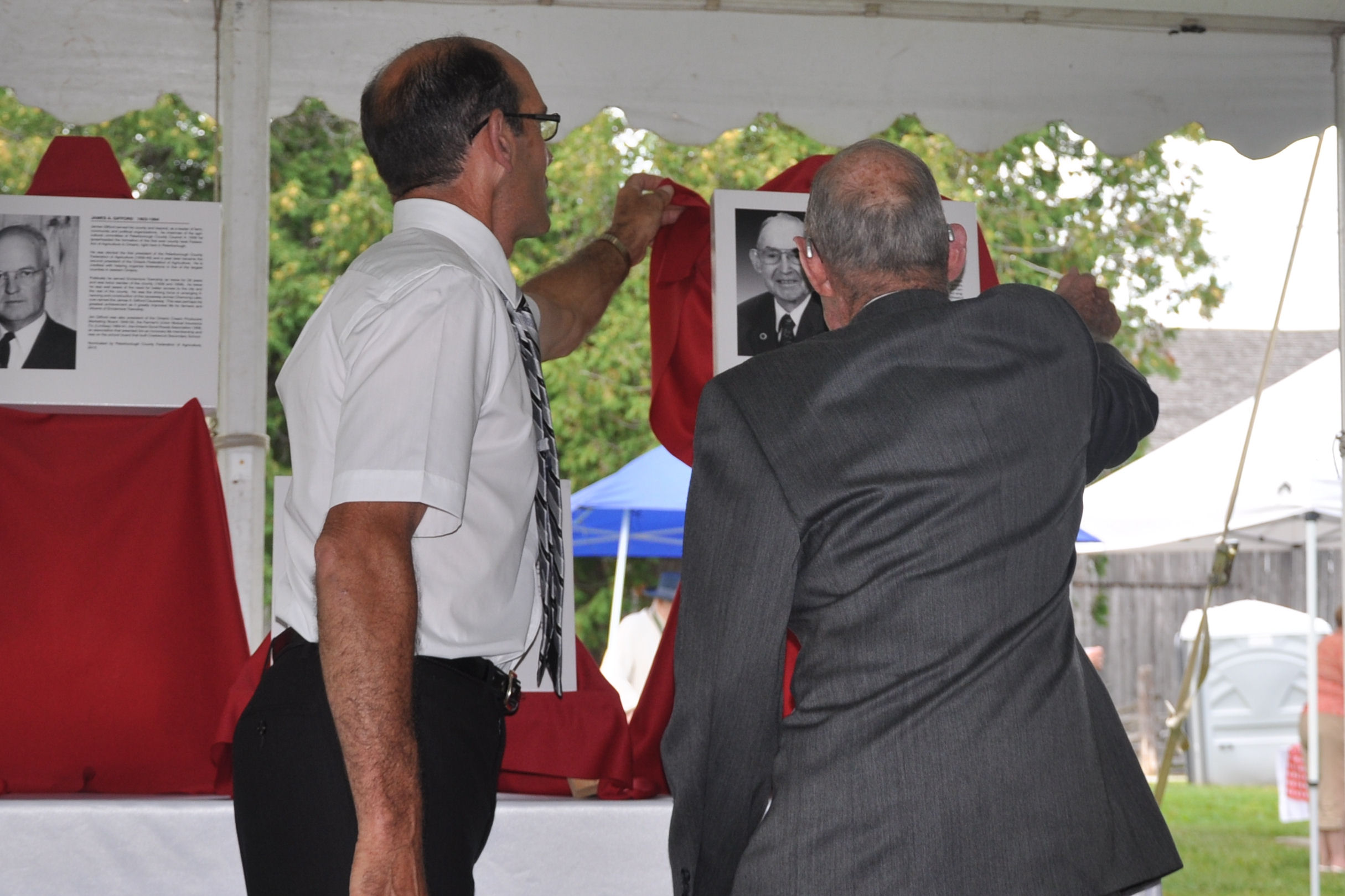 Unveiling of Ron Warner, 2015 Peterborough Agricultural Wall of Fame Inductee